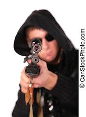mand, til sigt, af, gamle, tilsmuds, geværet