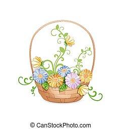 mand, van, mooi, bloemen