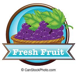 mand, vers fruit, druiven, etiket