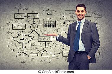 mand, viser, noget, stor, plan, på, beton mur