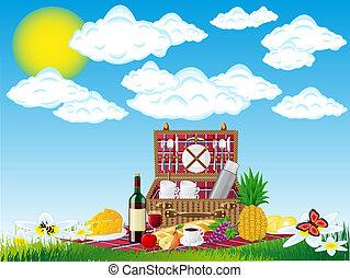 mand, voedsel, picknick, tableware, natuur