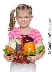 mand, weinig; niet zo(veel), houden, groentes, meisje