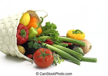 mand, wicker, groentes, volle, fris