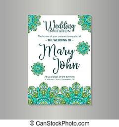 mandala, ベクトル, 贅沢, 招待, 結婚式
