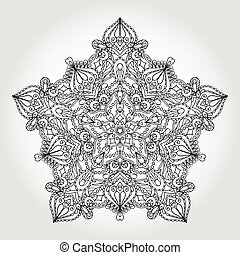 mandala, 民族的な黒, 星, バックグラウンド。, pattern., 種族