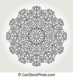 mandala, 民族的な黒, 渦巻, バックグラウンド。, pattern., 種族