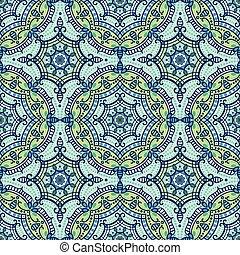 mandala, 民族, ornament., 青, seamless, 東洋, pattern.