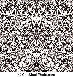 mandala, 民族, ornament., seamless, ブラウン, 東洋, pattern.
