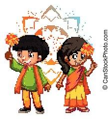 mandala, 背景 パターン, 男の子, indian, 女の子