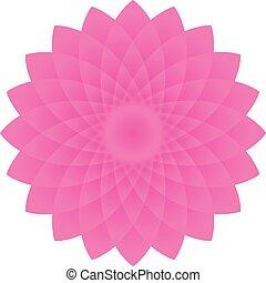 mandala, 3d, flor cor-de-rosa, círculo, forma, arte, ilustração, vetorial