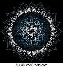 Mandala - Abstract sacred lotus mandala over bluish black