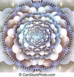 Mandala and multi-layered spaces. 3D rendering