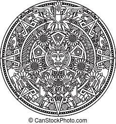 mandala, aztécký