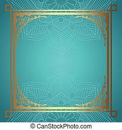 mandala background with decorative gold border 0511