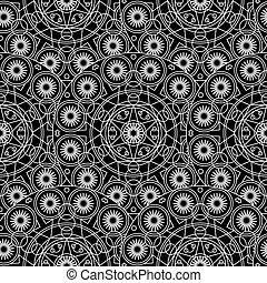 mandala, blanc, seamless, modèle, boho, monochrome, noir