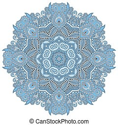 mandala, blaues, farbe, kreis, dekorativ, geistig, indische...