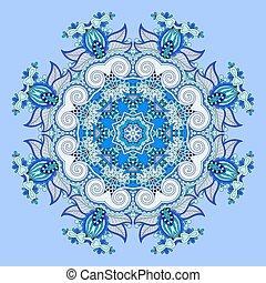 mandala, blue circle decorative spiritual indian symbol of lotus
