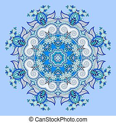 mandala, blue circle decorative spiritual indian symbol of lotus