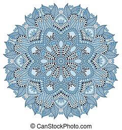 mandala, blue colour circle decorative spiritual indian symbol