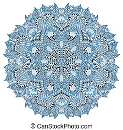 mandala, blue colour circle decorative spiritual indian symbol