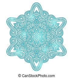 mandala, celta, invierno, tarjeta, patrón, amuleto, nudo