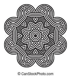 mandala, celta, tarjeta, patrón, amuleto, nudo