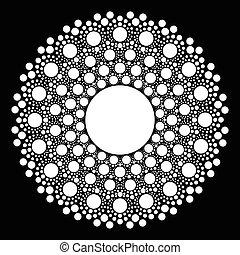 mandala, cercle, vecteur, arrière-plan noir