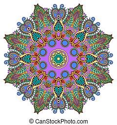 circle decorative spiritual indian symbol of lotus flower