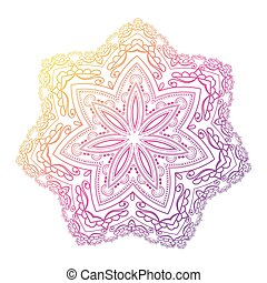 Mandala. Circle pattern in light pink, violet and blue colors.