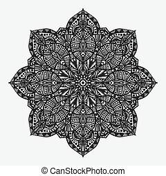 mandala., circular, geométrico, monocromo, patrón