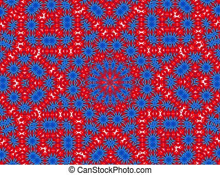 pattern, mandala look like image made from blue and red cloth