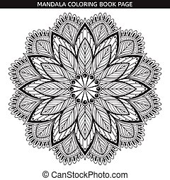 Mandala. Coloring book pages. Indian antistress medallion....