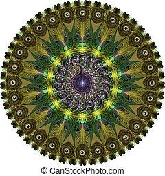 mandala created from fractals, computer graphics