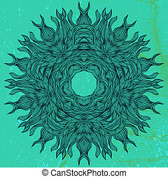 Mandala design in black on aqua green