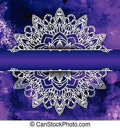 Mandala design on a watercolour background - Decorative...