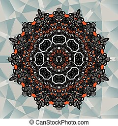 Mandala design on blue triangles background