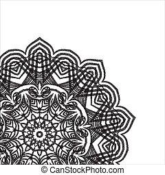 Mandala dotwork stipple Pattern black white Card