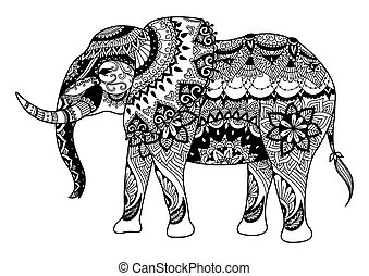 Mandala elephant - Zendoodle design of elephant for design ...