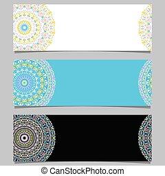 mandala, ensemble, coloré, fond, gemme, horizontal, bannière