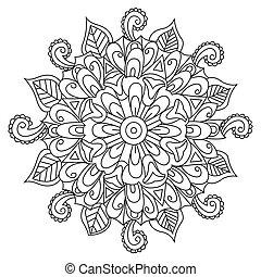 mandala, flor, colorido, vector, para, adultos