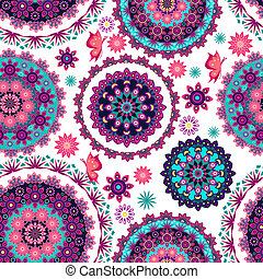 Mandala floral pattern and butterfl