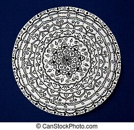 Mandala flower black and white on blue background