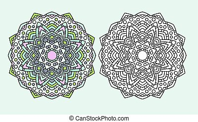 mandala flower coloring drawing vector - ABstract mandala...