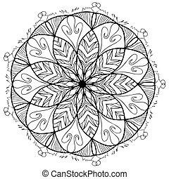 Mandala flower coloring raster for adults - Mandala flower...
