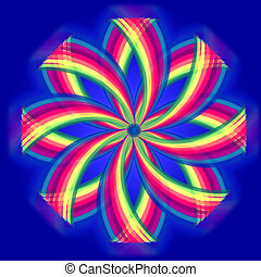 mandala flower, rainbow colors in circles over blue