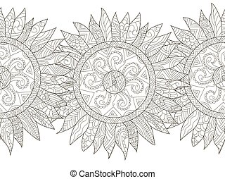 Mandala flower sunflower coloring seamless vector for adults