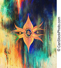 mandala flower with solar symbol on colorful abstract background.