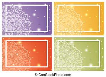 mandala, fond, quatre, gabarits, motifs
