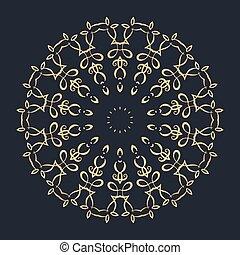 Gold round ornament pattern on black background.