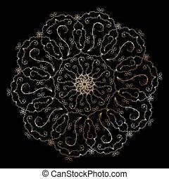 Mandala. Golden round ornament on the black background. Decorative design element. Vector illustration.